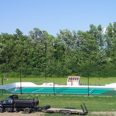 50 x 100 ft. Sport Court tennis court/hockey rink/basketball court in Charlotte, VT.