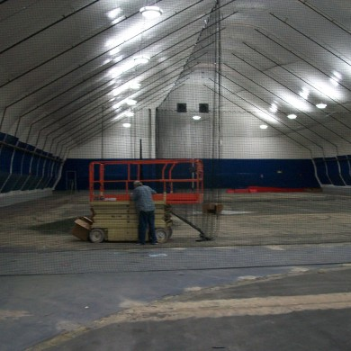 Tensioned fabric building at the John Smith Soccer Academy in Millford, MA.