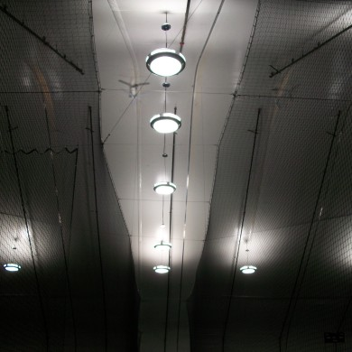 Ceiling view of netting at the John Smith Soccer Academy in Millford, MA.