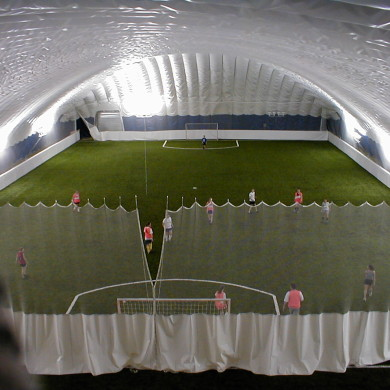 Soccer dome divider curtain at the Maine Sports Complex.
