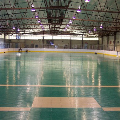 An after photo of the hockey rink converted to a Sport Court multi-sport practice facility.
