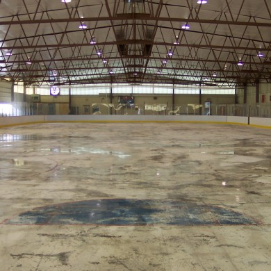 A before photo of the hockey rink at Vermont Academy.