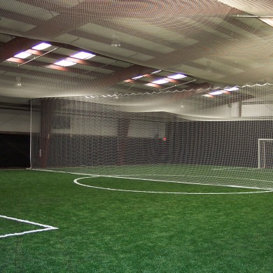 Ceiling net, divider curtains, and pads at Capital Soccer in Schenectedy, NY.