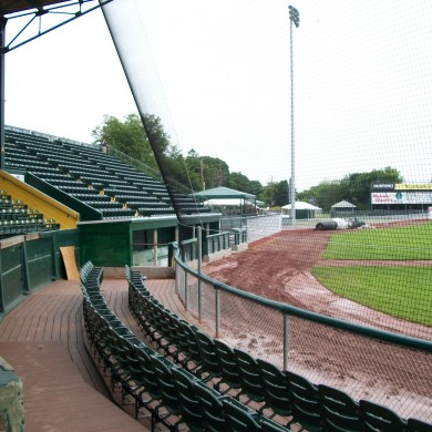 A side view of the baseball backstop at UVM's Centennial Field.
