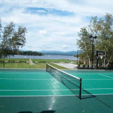 A tennis and basketball multi-sport court in Charlotte, VT. Made with an ice rink conversion.