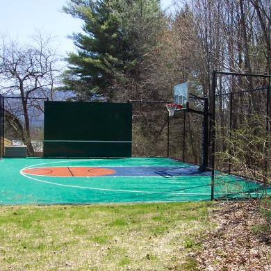 Sport Court half-court basketball court with tennis rebounder, Stowe, VT.