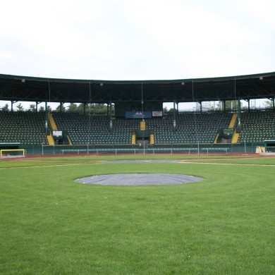 A full view of the baseball backstop at Centennial Field, located at the University of Vermont. Home of Burlington, VT's semi-professional Lake Monsters team.