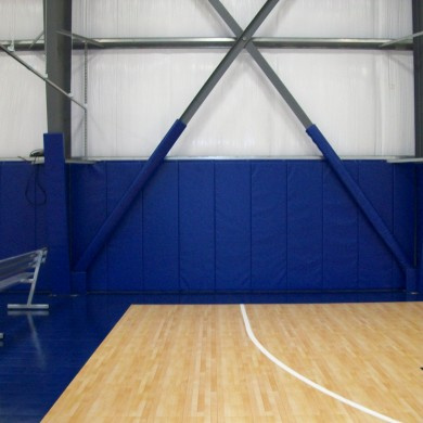 Custom wall padding at Above the Rim's basketball facility in Hampton, NH.