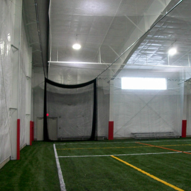 Retractable batting cage (retracted).